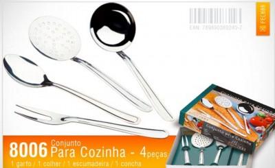 Conjunto para Cozinha 04 peças em Aço Inox - 8006 - Mega Inox