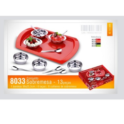 Conjunto de Sobremesa 13 peças com Bandeja Vermelha - 8033M - MEGAINOX