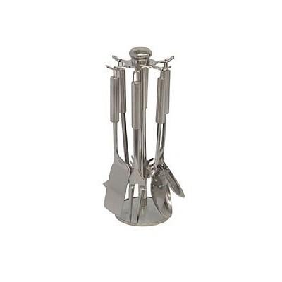 Conjunto de Utensílios Aço Inox 7 Peças Rack Giratório - AS7A2 - Mimo Style