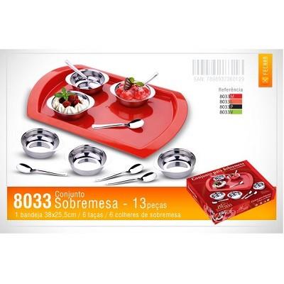 Conjunto para Sobremesa 13 Peças com Bandeja - 8033 - Megainox