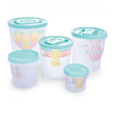 Conjunto de Potes para Mantimentos Tampa Rosca 5 peças Abacaxi - 5594 - Plasutil