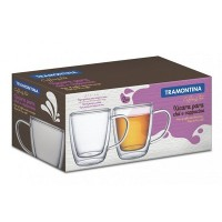 Conjunto de Xícara para Chá e Cappucino 2 peças 270 ml Vidro - 64760/410 - Tramontina