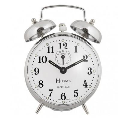 Despertador Mecânico Clássico Cromado Picotiado - 2370 - Herweg