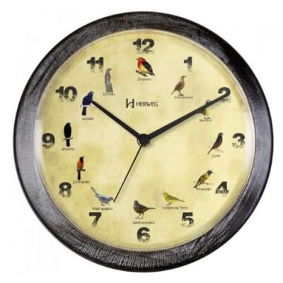 Relógio de Parede Decorativo Musical Pássaros Wood White - 6658-273 - Herweg