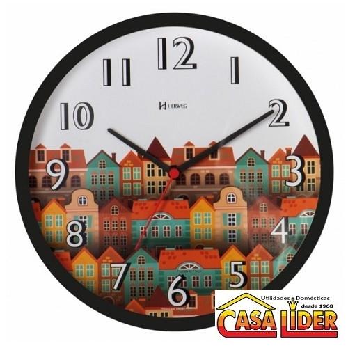Relógio de Parede Cidade Preto - 660010-034 - Herweg