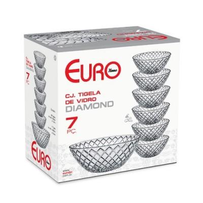 Conjunto de Tigela de Vidro Diamond 7 peças - VDR7596 - Euro