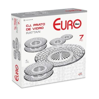 Conjunto de Prato de Vidro Rattan 7 peças - VDR7589 - Euro