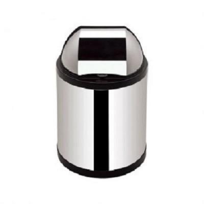 Lixeira com Tampa Plástica Retratil e Corpo Inox 2,5 Litros Preto - 3579 - Viel
