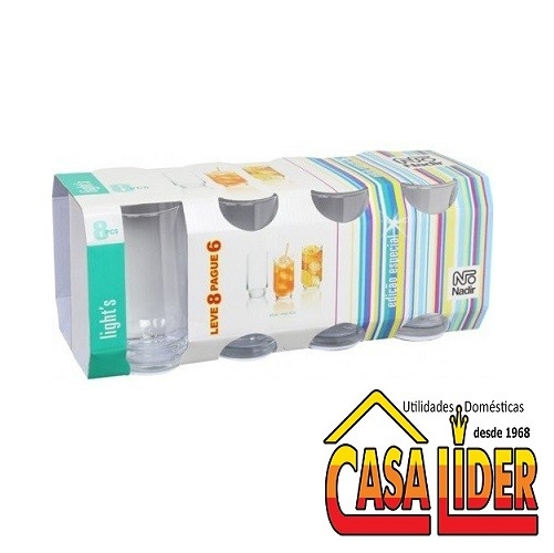 Conjunto de 8 Copos Lights Long Drink 410ml - 7604 - Nadir Figueiredo
