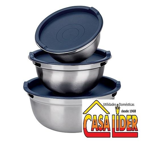 Conjunto German Bowl 3 peças Inox com Tampa Prática Plástica - IN8319 - Euro Home