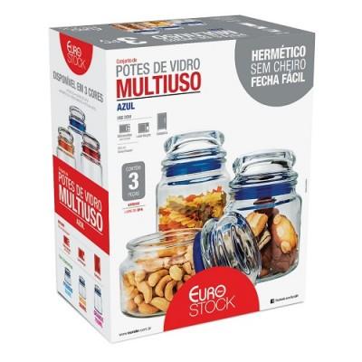 Conjunto Potes de Vidro Multiuso 3 peças Misto - VDR9040 - Euro