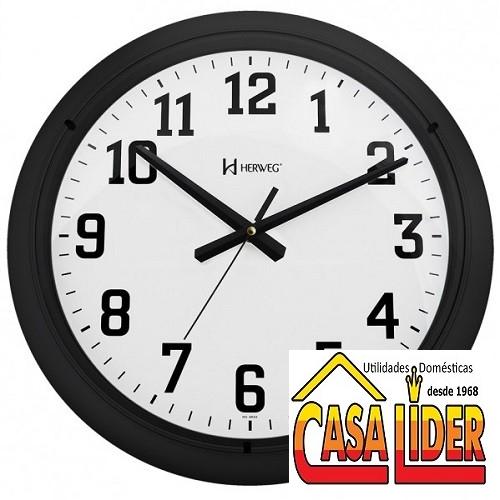 Relógio de Parede Preto Quartz - 6129-034 - Herweg
