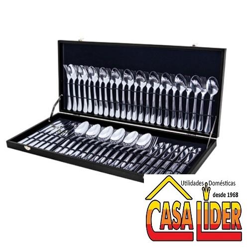 Faqueiro com 72 peças Inox na Maleta de Madeira - 5693 AT72J - MimoStyle