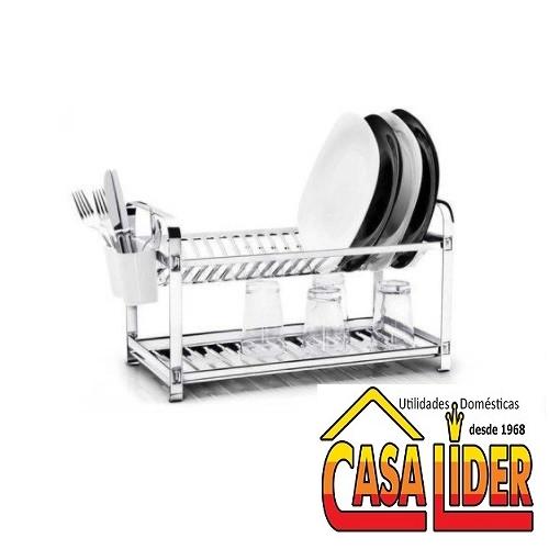 Escorredor Inox para 20 Pratos Montado com Porta Talheres Em Plástico - 2020 - Mak-Inox