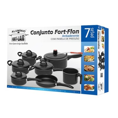 Conjunto Fort-Flon Antiaderente 7 peças com Panela de Pressão - 4050 - Fort-Lar