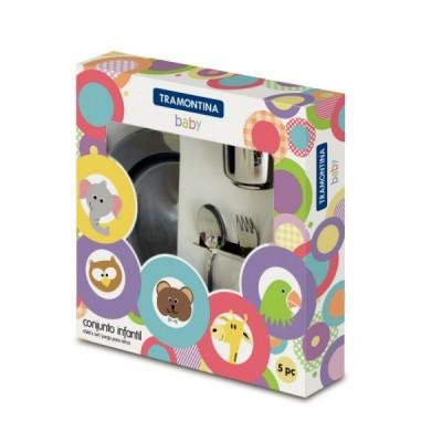 Kit Infantil Tramontina para Refeição em Aço Inox 5 Peças - 64250/740 - Tramontina