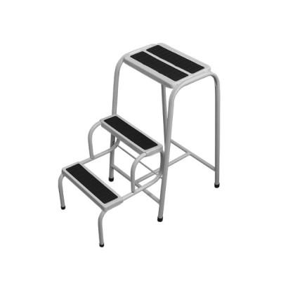 Escada Banqueta Util Forte com 3 Degraus Branca Preta  - UDM0400 - Metalmix