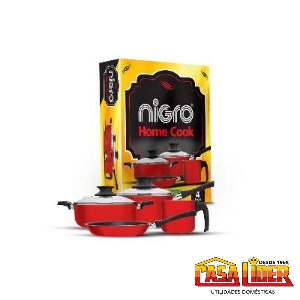 Conjunto de Panelas Home Cook 4 Peças Antiaderente Vermelha - 25396 - Nigro